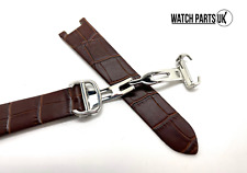 • • 20mm Brown Croc Genuine Leather Bracelet Watch Strap For Cartier Pasha • •