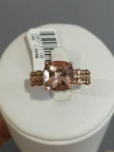 10KT Rose Gold 3.14 CTW Genuine Morganite & Diamond Ring Size 7 $1299 Retail