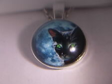 "Awsome! WICCA - Black Cat  Pendant & Necklace "" NEW """