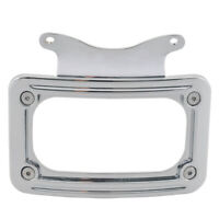 Curved Laydown License Plate Mount Frame Light For Harley Touring Electra Glide