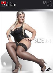 PLUS SIZE Hold ups Stockings 15 den Sheer Lace Top XL - XXXXL Adrian Bella