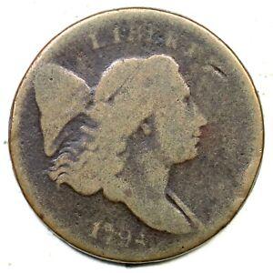 1794 C-2a R-2+ Sm Edge Letters Liberty Cap Half Cent Coin 1/2c