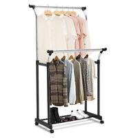 Rack Clothes Hanger Shoe Adjustable Double Bar Shelf Organizer Dual Metal Stand