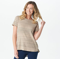 Lisa Rinna Collection Space Dyed Short-Sleeve Top - Sand - 2X