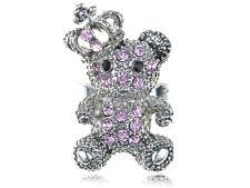 Pink Rose Corona Rey Teddy Cuddle Bear Vintage Correa de diamantes de imitación Diversión dedo anular