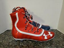 UNDER ARMOUR HIGHLIGHT SIZE 15 LAND OF THE FREE RED WHITE BLUE FOOTBALL CLEATS