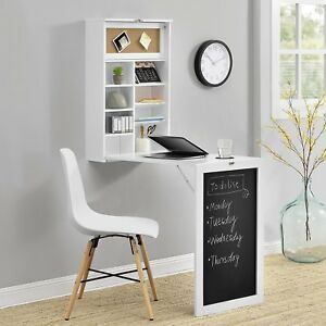 Fold Away Desk White Table Wall Workstation Spacesaver Folding Compact Home