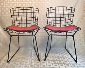Pair VINTAGE Knoll Harry Bertoia Children's Side Chairs with Red Cushions