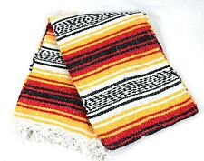 Genuine Mexican Falsa western blanket Rasta colours throw mat yoga rug