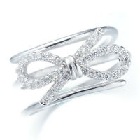 Infinity Love Bow 925 Sterling Silver Resizable Adjustable Multi Ring