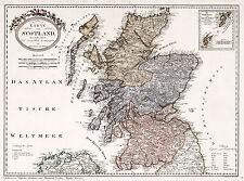 1795 Map of Scotland Franz Johann Joseph von Reilly Art Poster Scottish History