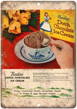 "Borden's Dutch Chocolate Ice Cream Ad 10"" x 7"" Reproduction Metal Sign N212"