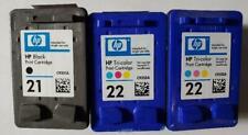 3 Total NEW Genuine OEM Original HP 21 Black and 22 Color Inkjet Cartridges