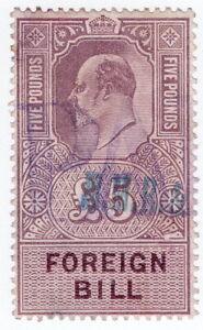 (I.B) Edward VII Revenue : Foreign Bill £5 (1902)
