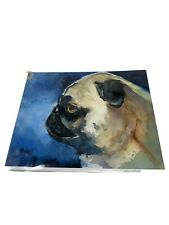 Pug Art Print Signed by Artist Ron Krajewski Painting 8x10 Dog