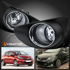 2012-2014 Toyota Yaris Hatchback Clear Bumper Fog Lights Driving Lamps+Switch