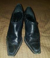41f893f318e ANTONIO MELANI Black Leather Ankle Boot shoes 6.5 M heel Nice Western
