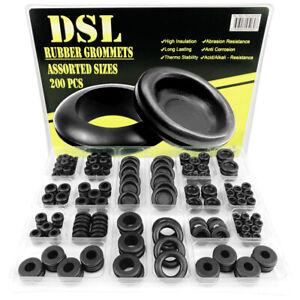 DSL 200PCs Rubber Grommets Blanking Open/Closed Blind Grommet Set Assorted Sizes