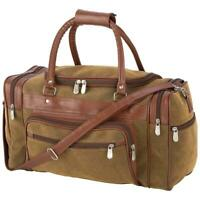 "Brown Leather Vegan 17"" Duffel Gym Travel Carry On DESIGNER Luggage Bag"