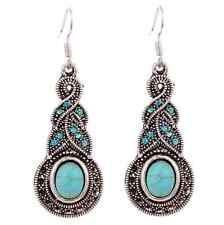 Women Natural Turquoise Crystal BEADED Tibet Silver Hook Dangle Earrings hs0