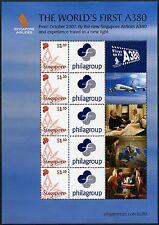 Singapur Singapore 2007 Singapore Airlines A380 Flugzeug 1740 Kleinbogen MNH