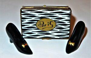 """LIMOGES FRANCE BOX- PARRY-VIEILLE - """"PARIS"""" SHOE BOX & BLACK HEELS - ZEBRA PRINT"""
