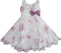 Flower Girl Dress Purple Flower Bow Tie Wedding Party Age 3 4 5 6 7 8 Pageant