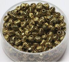 4 MM Vintage Brass Bi-Cone Corrugated Hollow Beads  Pkg. 50 p.  , USA