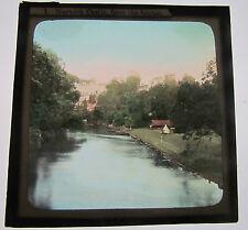 WARWICK CASTLE FROM THE BRIDGE  1900-1910 Magic Lantern Glass Colour Slide