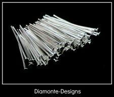 100 Pcs - 30mm Silver Plated Head Pins Jewellery Bead Findings Craft B154