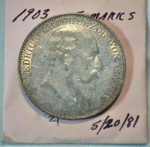 1903 German States Baden 5 Mark Silver from Old Estate   (201)
