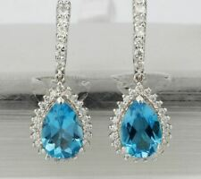 6Ct Pear Cut Blue Topaz Attractive Drop & Dangle Earrings 14K White Gold Finish