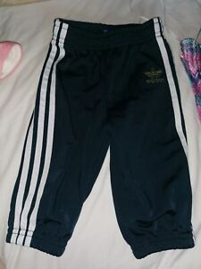 Baby Boys Adidas Green / Navy Tracksuit Bottoms Joggers Trousers Age UK 3-6 Mths