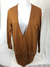NWT New York & Company Women Rust V-neck Button Front Pockets Long Cardigan XL