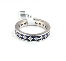 HIDALGO, 18K WHITE GOLD, DIAMOND, BLUE ENAMEL ETERNITY BAND RING