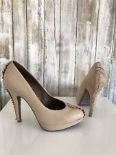 Rosegold Beige Nude Leather Ruffle Pumps Heels 36 6 CLASSIC!