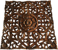 Asian Carved Wood Wall Decor Plaque. Floral Wood Wall Art Panel. Brown 24""