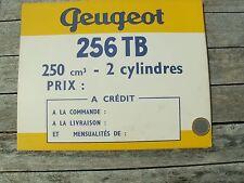 PEUGEOT MOTO 256 TB 250 cm2 FICHE BRISTOL ORIGINALE D'EPOQUE 24,5 X 19,5 GARAGE