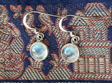 315D Rainbow Moonstone 8mm earring solid 925 sterling silver gems rrp$34.95