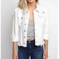 New BLANKNYC Denim Jacket Womens Size XS White Button Sharkbite Frayed Hem