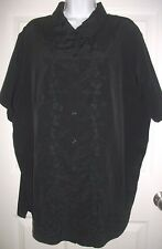Jaclyn Smith Plus Women Black Embroidery Satin Short Sleeved Shirt Top Size 18W