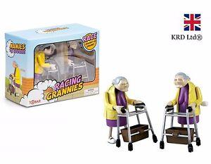 Clockwork Wind Up RACING GRANNIES Toy Novelty Office Granny Birthday Gift Box UK