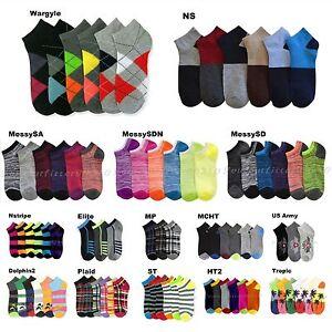 3 6 12 Pairs Lot Men's Womens Design Socks Low Cut Fashion Pattern Print Casual