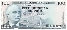 Iceland  100 Kronur L. 29.3.1961/1981 Series DA P 44a Uncirculated Banknote E30W