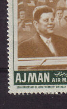 Error Misplaced Center Jfk Kennedy Usa 50th Birth Anv Mint Mnh Ajman 1967 Uae
