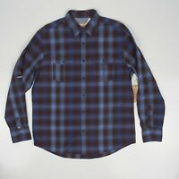 Vitage Italia Mens Blue Plaid Button Down Long Sleeve Shirt 100% Cotton NWT M
