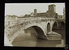 Glass Magic Lantern Slide ROMA - PONTE FABRICIO C1920 ROME ITALY