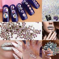 300pcs Mixed 3D Nail Art Rhinestones Glitters Acrylic Tips Decoration Manicure