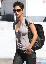 REBECCA MINKOFF Black Leather XL Ostrich NIKKI Hobo Shoulder Bag -Brass Hardware