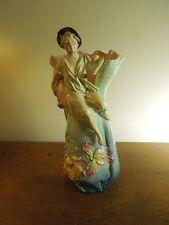 Vintage Ceramic Painted Vase Boy with Pan Flute Numbered 7068 40